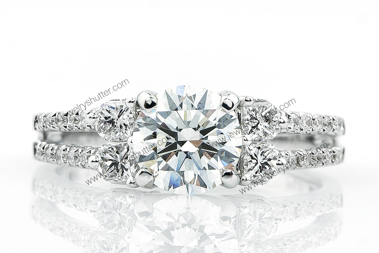 Diamond Ring on white background.