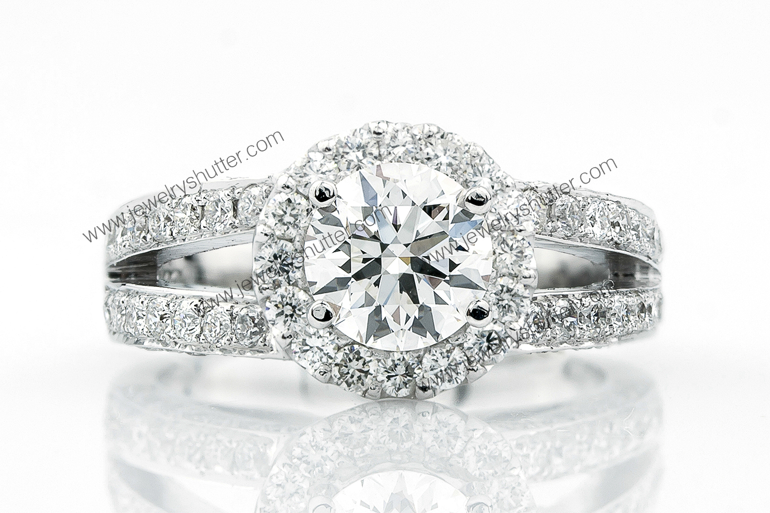 Diamond Ring on white background.